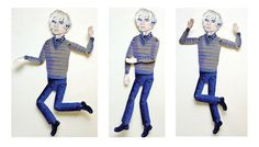Andy Warhol DIY Printable PDF Paper Puppet  Doll Famous Artist, Blue, Brown