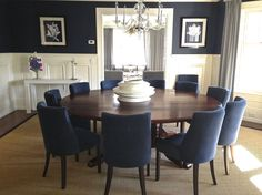 Unique like the round table chair style [Traditional - Dining room - Images large round dining room table - Home Decor Ideas Dining Room Images, Dining Room Table Decor, Blue Dining Room Chairs, Dining Room Design, Navy Chairs, Office Chairs, Accent Chairs, Large Round Dining Table, Formal Dining Tables