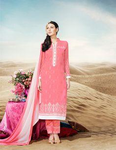 Buy Peach Faux Georgette Straight Cut Suit 69707 online at lowest price from huge collection of salwar kameez at Indianclothstore.com.