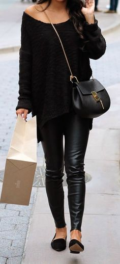 all black casual outfit: leather pants, oversized sweater, chloe drew bag