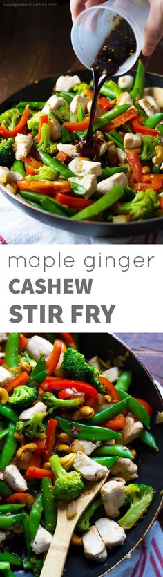 Maple Ginger Cashew Chicken Stir Fry, an easy, healthy dinner recipe that is ready in 30 minutes!