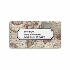 Vintage Antique Old World Map Design Faded Print Return Address Labels #SOLD on #Zazzle