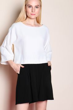 Striped Textured Top (White) SGD$ 30.00