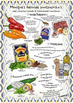 Gevulde puntpaprika's met couscous salade en komkommer muntsaus. Recept illustratie van Irms. Makkelijk recept voor feestjes en etentjes met vrienden. Meer geïllustreerde recepten op mijn blog, ook op aanvraag. #recept #illustratie #recipe #illustration #artwork