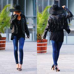 Adrienn Milo - Jessicabuurman Jacket, Jessicabuurman Hat - FRINGESKAMEL | # All Clothing # Jackets + Coats # Tops # Leathers #STREETFASHION # BLACK AND WHITE # ALL ABOUT LEATHER #jessicabuurman @jessicabuurman @lookbook
