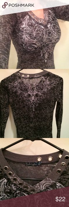 Fun, casual long sleeve Fun, fashionable, sheer fabric shirt. Embellished V-neck, scroll design on front and back. Scattered rhinestones add a touch of shimmer. Perfect condition. Cruel Girl Tops Blouses