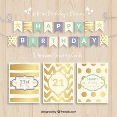 誕生日のバナーとカード