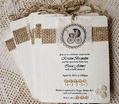 Rustic Burlap Country Lace Roses Baby or Bridal Shower Invitation
