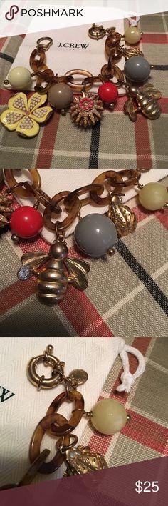 J. Crew bracelet frog, bee, and flower Approximately 8 inches. Amazing bracelet. J. Crew Jewelry Bracelets