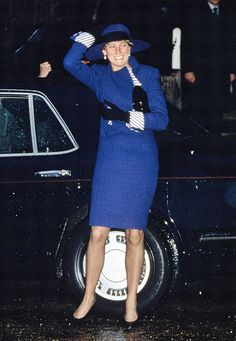 Princess Diana with a big smile and looking stylish