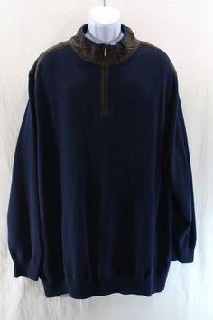 Oak Hill Half Zip Sweater 3XL Navy Blue with Brown Suede Trim Long sleeve Warm  #OakHill #VNeck