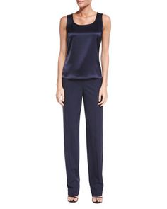 Liquid+Satin+Scoop-Neck+Tank+&+Modern+Stretch+Tropical+Pants+by+St.+John+Collection+at+Neiman+Marcus.