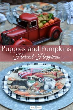 Dogs, trucks, pumpkins and hay bales. It's fall, y'all! Diy Centerpieces, Centrepieces, Cat Position, Old English Sheepdog Puppy, Sheep Dog Puppy, Pool Shed, Different Types Of Flowers, Make A Table, Tree Shop