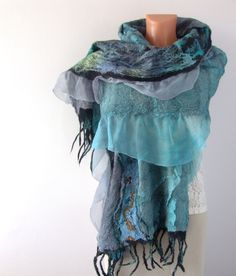 Nuno felted scarf  - Teal Grey Turquoise. $97.00, via Etsy.