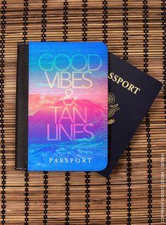 "Use coupon code ""pinterest"" Good Vibes and Tan Lines Passport Cover - Passport Case - Travel Wallet - Passport Holder by DentzDenim"