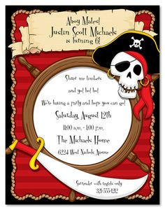 Pirate Party Invitations From Zazzle Com. How To Make Invitations, Pirate Party Invitations, Retirement Party Invitations, Birthday Cards For Boys, Boy Birthday Parties, 8th Birthday, Pirate Birthday, Pirate Theme, Pirate Party Tables
