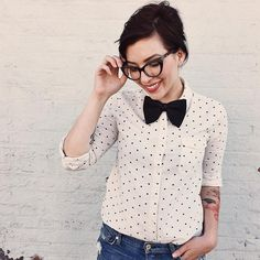 cat eye glasses polka dot shirt and bow tie