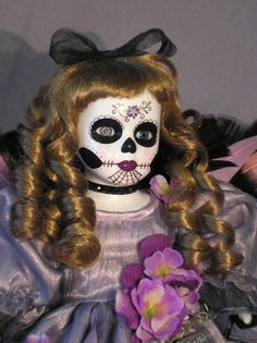 Hand Painted Day of the Dead Doll  Sugar by ReAnimatedCreations, $53.00