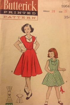 Retro Girls sewing pattern! I love vintage patterns like this! So sweet!! Love the inset yoke, too!