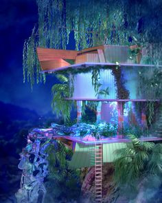 vaporwave interior about a year into di - vaporwave Aesthetic Rooms, Aesthetic Art, Aesthetic Pictures, Future House, My House, Fantasy Landscape, Retro Futurism, Dream Rooms, Aesthetic Wallpapers