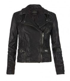 Cargo Leather Biker Jacket, Women, Leather, AllSaints Spitalfields