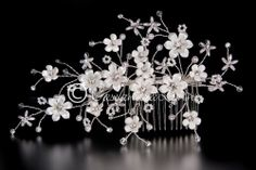 Bridal Wedding Hair Comb Lustre Porcelain Flowers White Pearls Seed Beads RS SV