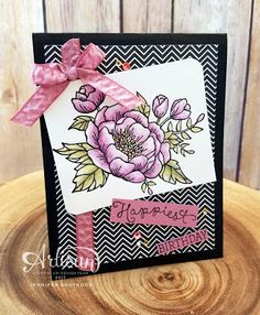 Sootywing Studios: Blooming Flower - Watercolor Birthday Card, Birthday card, watercoloring, Stampin' Up! Occasions 2017