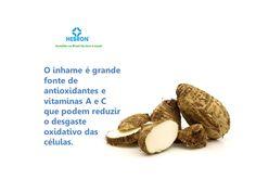 O inhame é grande fonte de antioxidantes e vitaminas A e C.