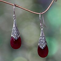 Puncak Jaya in Red. Wine red chalcedony and sterling silver dangle earrings from @NOVICA, They help #artisans succeed worldwide.