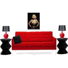 """""""Red and black living room"""" by applebush on Polyvore"""