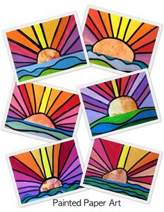 The sun will come out! Do you need to reintroduce a warm and cool concept in a colorful way? Here is a fun lesson that incorporates line and color. My students really enjoy creating these ad…