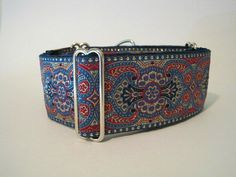 Jacquard Martingale Dog Collar Royal Blue and Red by HuggableHound, $21.99