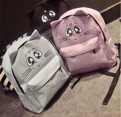 Harajuku Style Backpack Sailor Moon Canvas Backpack Cute Fold Cat Shoulder Bag School Bags For Teenager Girls Book Bag Rucksack Cat Backpack, Canvas Backpack, Sailor Moon, Mochila Do Bts, Fashion Bags, Fashion Backpack, Kawaii Bags, Rebel Fashion, Cat Bag