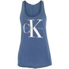 Calvin Klein Sleeveless Re-issue Logo tank ($51) ❤ liked on Polyvore featuring tops, indigo, women, denim top, sleeveless tank tops, jersey tank top, blue tank and blue tank top