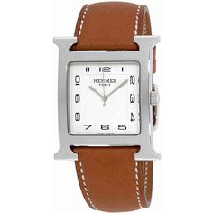 Hermes H Hour White Dial Ladies Leather Watch ($1,943) ❤ liked on Polyvore featuring jewelry, watches, white dial watches, quartz movement watches, white faced watches, leather jewelry and analog wrist watch