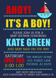 Sailboat Baby Shower Invitation baby boy shower by LillyMaeDesigns, $13.00