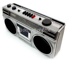 1980s style portable cassette player Boom Box
