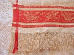 Antique Damask Towel with Bird Motif @ Vintage Touch $30.00