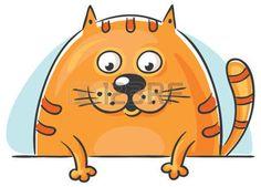 Vette oranje cartoon kat gluren en naar beneden te kijken photo