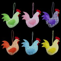Easter decorations Fabric hens looking so very pretty !