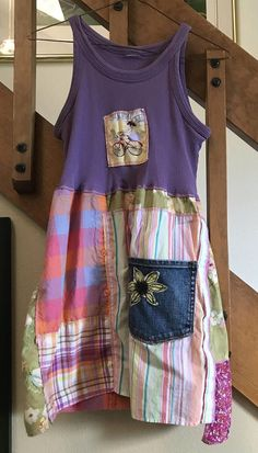 Up Cycled Women's Tunic Repurposed Patchwork Casual Fun