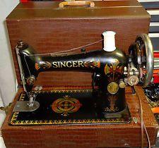 SINGER Model 66 Electrified/Motorized, Portable Sewing Machine w/ Alligator Case, lotus flower decals