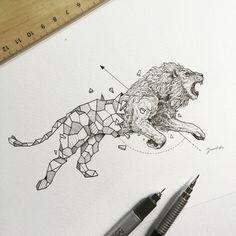 original león con formas geométricas