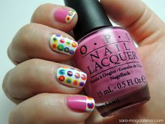 #31DC2013 Day 11: Polka Dot Nails: The main polishes that I used were @Zoya Nail Polish Purity and @OPI Products, Inc. If You Moust You Moust. For the dots, I used the following: @China Glaze Papaya Punch, Electric Beat (mini), Snap My Dragon, Fancy Pants; @Cult Nails  Feel Me Up, Love at First Sight, Ay Poppy!; OPI Did It On 'Em; @essie Butler Please, Naughty Nautical. Phew - lots of polish!