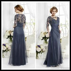 Wholesale Modern Silver V Neck Long Sleeve Lace Bodice Chiffon Skirt Mother Of The Bride Dresses Floor Length Evening Gowns For The Wedding Party, Free shipping, $92.72/Piece | DHgate Mobile