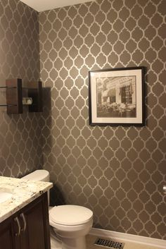 Stenciled powder room wall. KM Decor: Home Tour I want this stencil for a feature wall in my bedroom