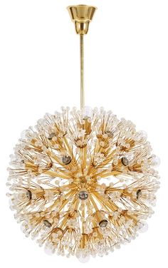 """Emil Stejnar, 'Snowball/Sputnik/ Pusteblomme' ceiling lamp for the Vienna Cafe """"Ohne Pause"""" am Graben, produced by A.Rupert Nikoll,  Vienna, 1955."""