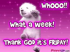 What a week! Thank God it's Friday! cute days bear friday gif dancing happy friday days of the week weekdays friday greeting Friday Funny Pictures, Friday Images, Funny Picture Quotes, Funny Quotes, Friday Pics, Friday Yay, Finally Friday, Tgif Quotes, Happy Friday Quotes