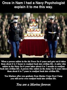 Marine ForeverYou can find Marine corps and more on our website. Marine Corps Quotes, Marine Corps Humor, Usmc Quotes, Us Marine Corps, Qoutes, Military Quotes, Military Humor, Military Love, Military History