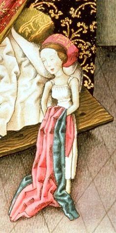 Jason and Medea put theirclothes on, Vienna, Österreichische Nationalbibliothek, cod.2773, fol. 18v, c. 1445-1450  Medieval and early renaissance underwear. Women's undergarments. dress. Shift. Chemise.